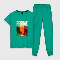 Пижама хлопковая женская Reggae цвета зеленый — фото 1