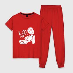 Пижама хлопковая женская Korn Toy цвета красный — фото 1