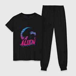 Пижама хлопковая женская Alien: Retro Style цвета черный — фото 1