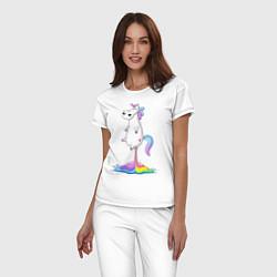 Пижама хлопковая женская Взлет единорога цвета белый — фото 2
