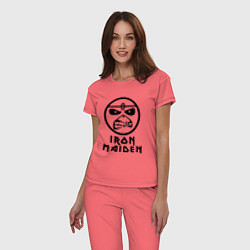 Пижама хлопковая женская Iron Maiden цвета коралловый — фото 2