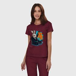 Пижама хлопковая женская Rabbit magician цвета меланж-бордовый — фото 2