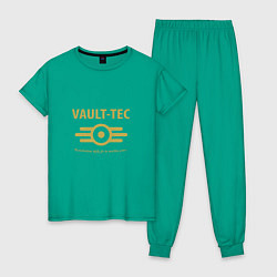 Пижама хлопковая женская Vault Tec цвета зеленый — фото 1