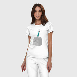 Пижама хлопковая женская Нога Акинфеева цвета белый — фото 2