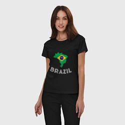Пижама хлопковая женская Brazil Country цвета черный — фото 2