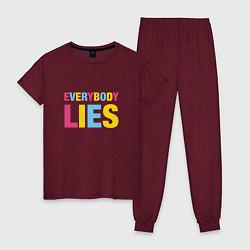 Пижама хлопковая женская Everybody Lies цвета меланж-бордовый — фото 1