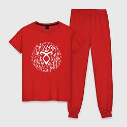 Пижама хлопковая женская Shadowhunters Runes цвета красный — фото 1