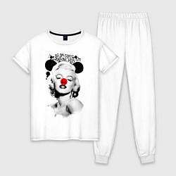 Пижама хлопковая женская Мэрилин Монро клоун цвета белый — фото 1