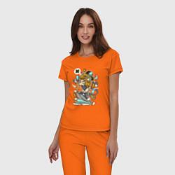 Пижама хлопковая женская Хипстер на самокате цвета оранжевый — фото 2