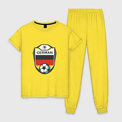 Пижама хлопковая женская German Soccer цвета желтый — фото 1