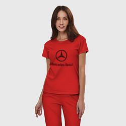 Пижама хлопковая женская Logo Mercedes-Benz цвета красный — фото 2