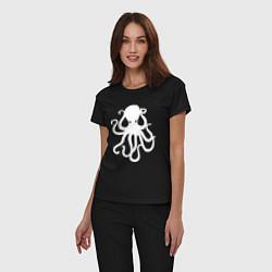 Пижама хлопковая женская Кракен-осьминог цвета черный — фото 2