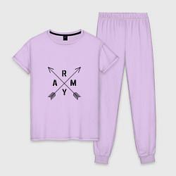 Пижама хлопковая женская BTS ARMY цвета лаванда — фото 1