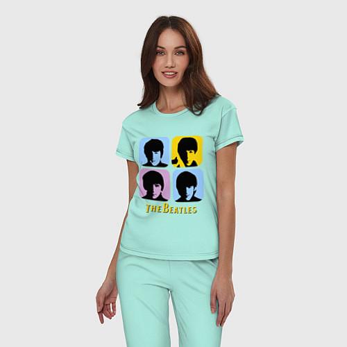 Женская пижама The Beatles: pop-art / Мятный – фото 3
