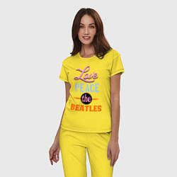 Пижама хлопковая женская Love peace the Beatles цвета желтый — фото 2