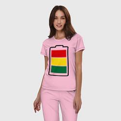 Пижама хлопковая женская Happy Battary цвета светло-розовый — фото 2