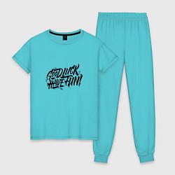 Пижама хлопковая женская GLHF цвета бирюзовый — фото 1