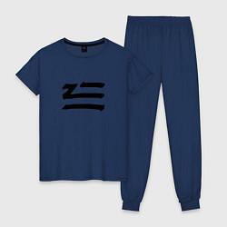 Пижама хлопковая женская ZHU цвета тёмно-синий — фото 1