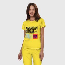Пижама хлопковая женская American Dream цвета желтый — фото 2