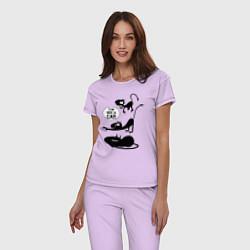Пижама хлопковая женская I'm not a CAT! цвета лаванда — фото 2