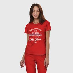 Пижама хлопковая женская Khabib Nurmagomedov est. 1988 цвета красный — фото 2