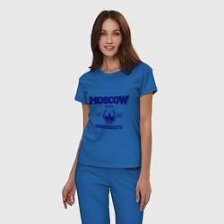 Пижама хлопковая женская MGU Moscow University цвета синий — фото 2