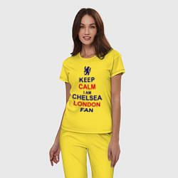 Пижама хлопковая женская Keep Calm & Chelsea London fan цвета желтый — фото 2
