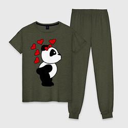 Пижама хлопковая женская Поцелуй панды: для нее цвета меланж-хаки — фото 1