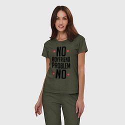 Пижама хлопковая женская No Boyfriend цвета меланж-хаки — фото 2
