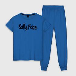 Пижама хлопковая женская SALLY FACE цвета синий — фото 1