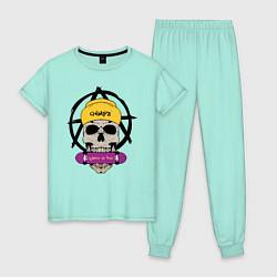 Пижама хлопковая женская Skate or Die цвета мятный — фото 1