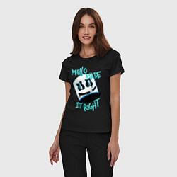 Пижама хлопковая женская Mello Made it Right цвета черный — фото 2