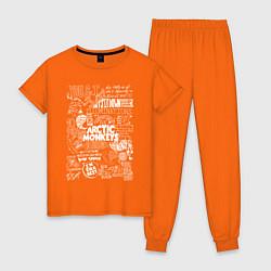 Пижама хлопковая женская Arctic Monkeys: I'm in a Vest цвета оранжевый — фото 1