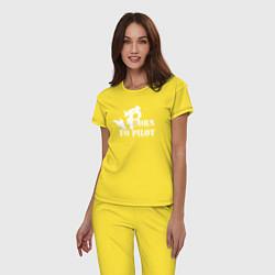 Пижама хлопковая женская Born to pilot цвета желтый — фото 2