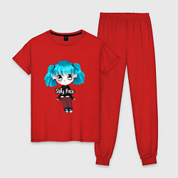 Пижама хлопковая женская Sally Face: Kid Girl цвета красный — фото 1