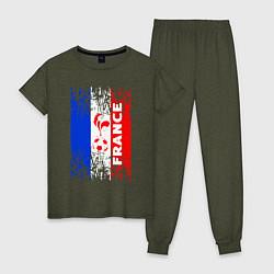 Пижама хлопковая женская France Team цвета меланж-хаки — фото 1