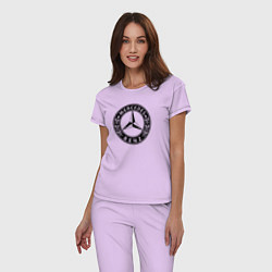 Пижама хлопковая женская MERCEDES-BENZ: Classic цвета лаванда — фото 2
