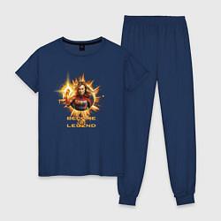 Пижама хлопковая женская Capt Marvel: Become a Legend цвета тёмно-синий — фото 1