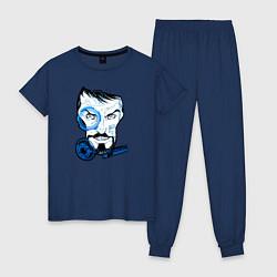 Пижама хлопковая женская Взгляд Тони Старка цвета тёмно-синий — фото 1