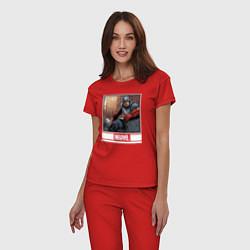 Пижама хлопковая женская Капитан Америка цвета красный — фото 2