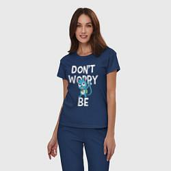 Пижама хлопковая женская Dont Worry be Fairy Tail цвета тёмно-синий — фото 2