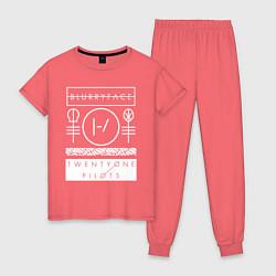 Пижама хлопковая женская 21 Pilots: Blurryface цвета коралловый — фото 1