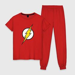 Пижама хлопковая женская Flash цвета красный — фото 1