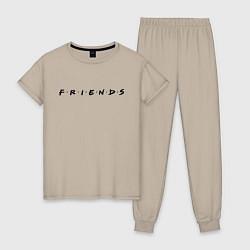 Пижама хлопковая женская Logo Friends цвета миндальный — фото 1