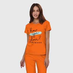 Пижама хлопковая женская How you doin? цвета оранжевый — фото 2