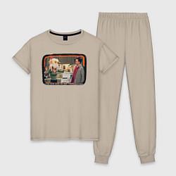 Пижама хлопковая женская Thanksgiving Day цвета миндальный — фото 1