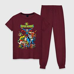 Пижама хлопковая женская Justice League цвета меланж-бордовый — фото 1