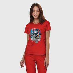 Пижама хлопковая женская Лига Справедливости цвета красный — фото 2