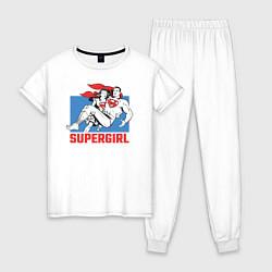 Пижама хлопковая женская Superman & Supergirl цвета белый — фото 1