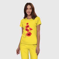 Пижама хлопковая женская Маки цвета желтый — фото 2